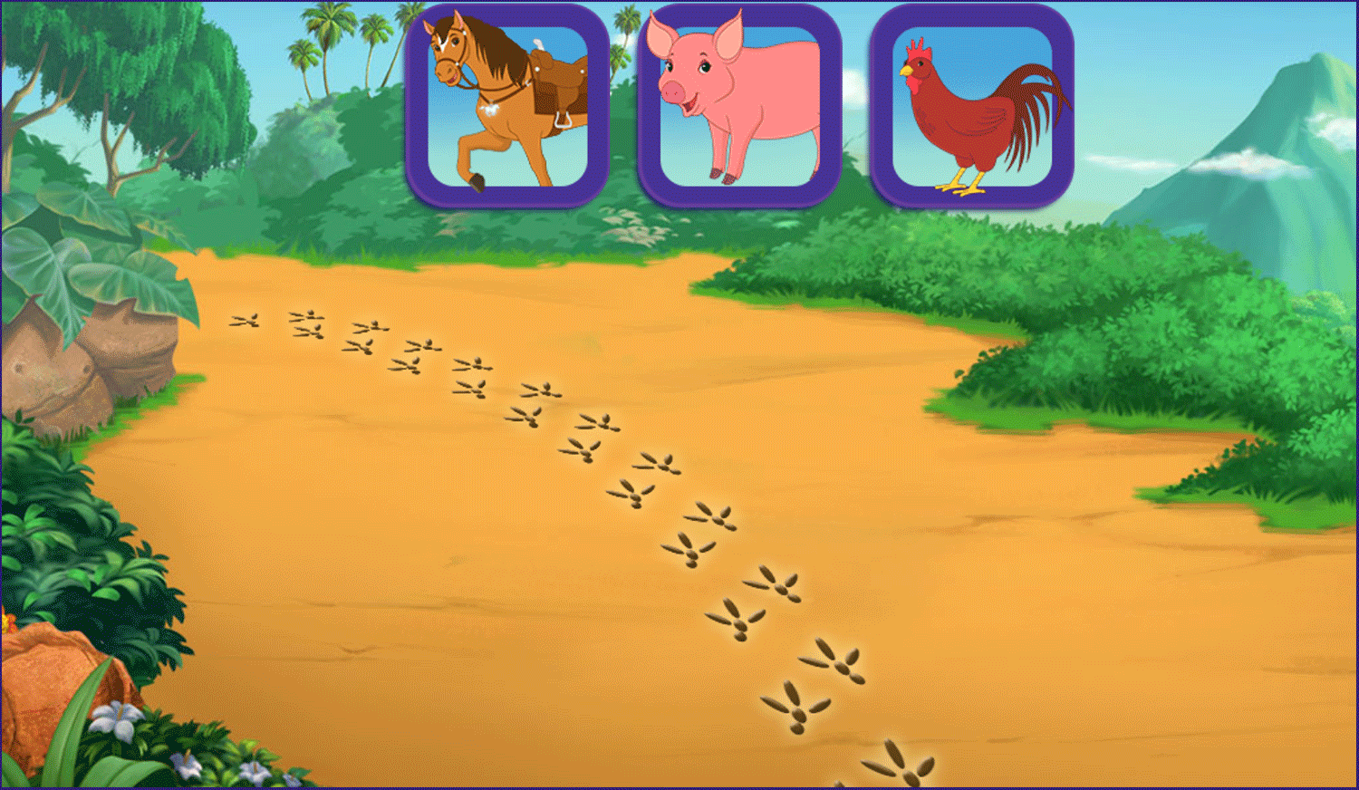 Dora and Friends Legend of the Lost Horses Game Track Footprints Screenshot.
