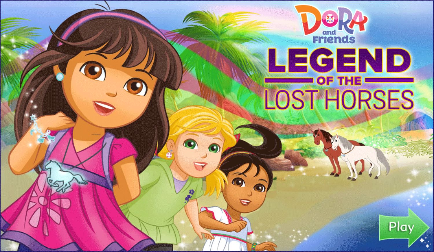 Dora and Friends Legend of the Lost Horses Game Welcome Screen Screenshot.
