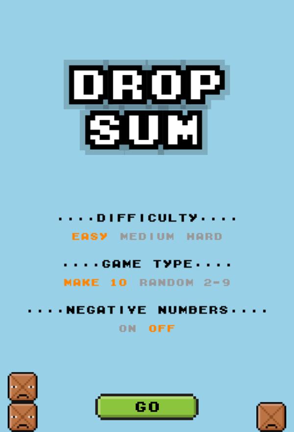 Drop Sum Game Welcome Screen Screenshot.