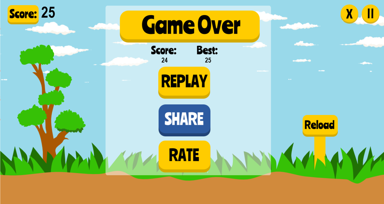 Duck Shooter Game Over Screenshot.
