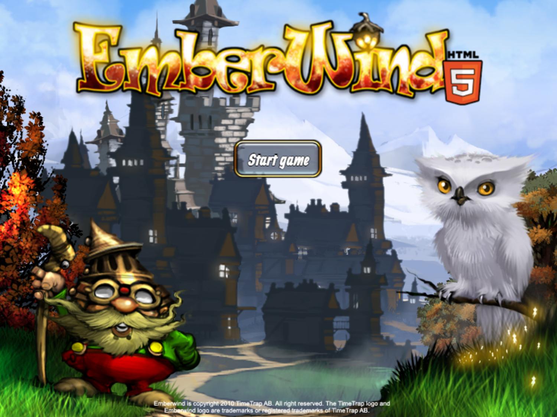 Emberwind Game Welcome Screen Screenshot.