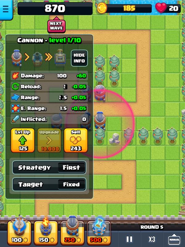 Endless Siege Tower Defense Cannon Details Screenshot.