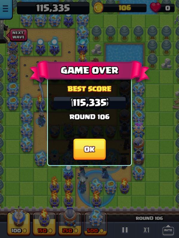 Endless Siege Tower Defense Game Over Screenshot.