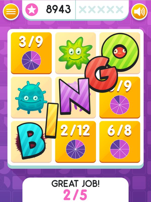 Equivalent Fractions Bingo Game Jackpot Screenshot.