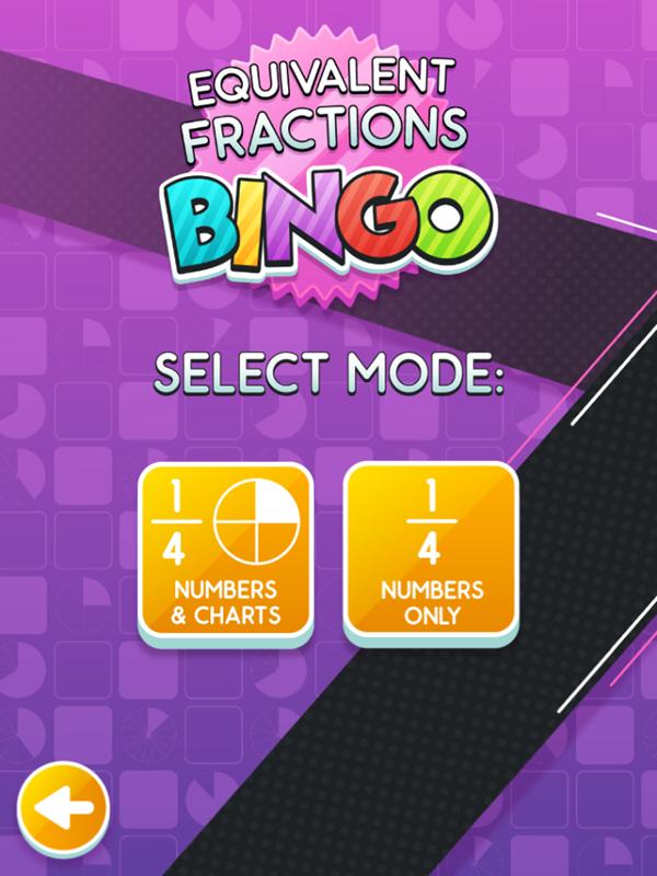 Equivalent Fractions Bingo Game Select Mode Screenshot.