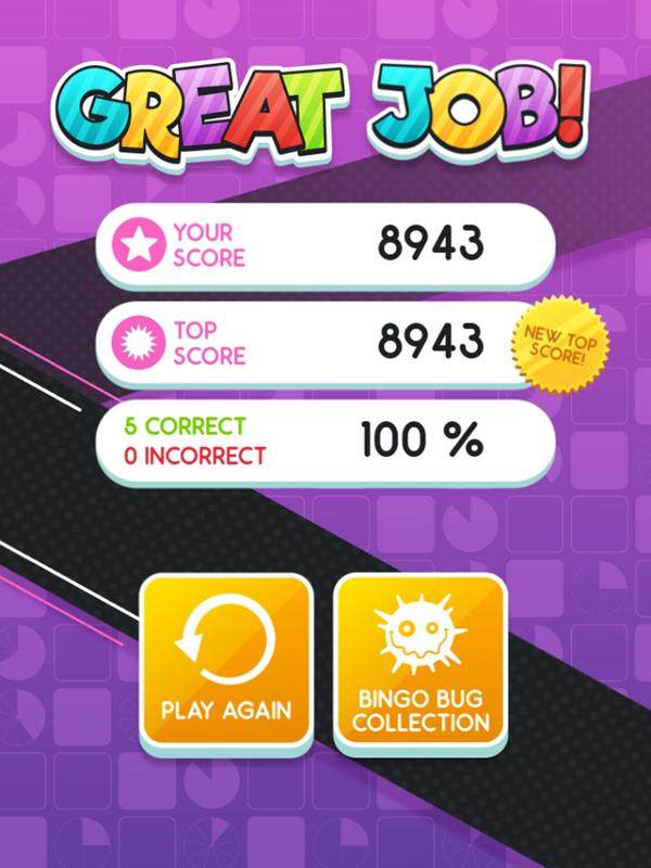 Equivalent Fractions Bingo Game Your Score Screenshot.