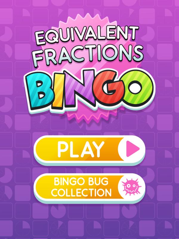 Equivalent Fractions Bingo Game Welcome Screen Screenshot.