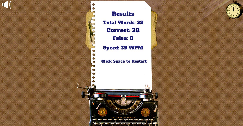 Fast Typer Game Results Screenshot.