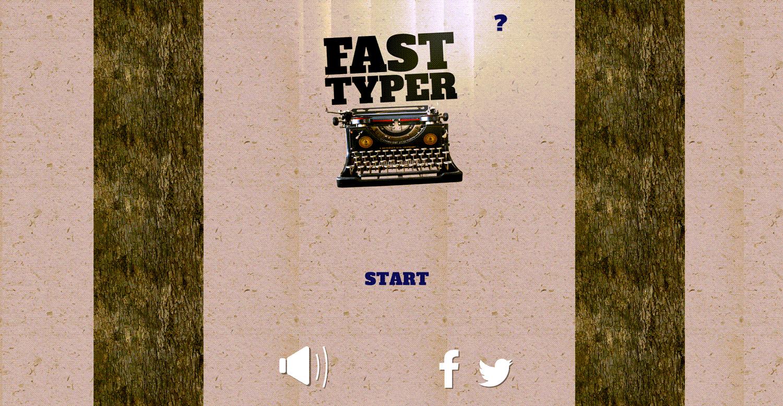 Fast Typer Game Welcome Screen Screenshot.