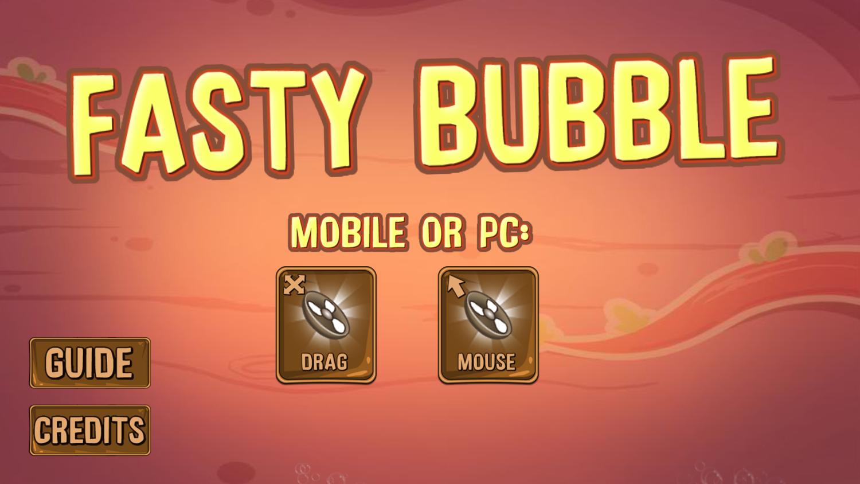 Fasty Bubble Welcome Screen Screenshot.