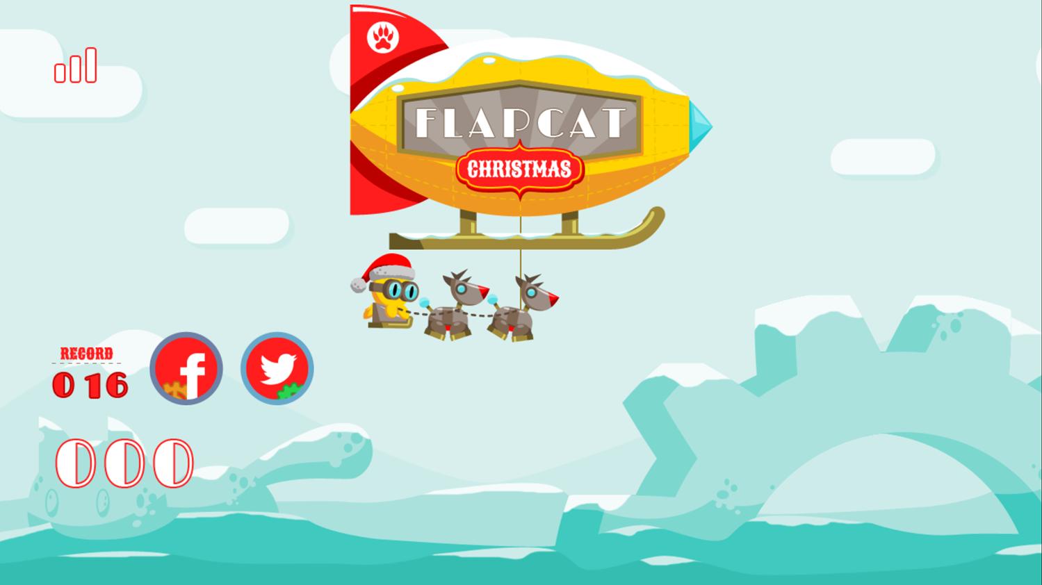 FlapCat Christmas Game Welcome Screenshot.
