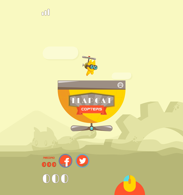 FlapCat Copters Game Welcome Screenshot.