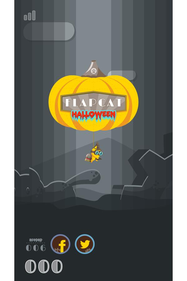 FlapCat Halloween Game Welcome Screenshot.