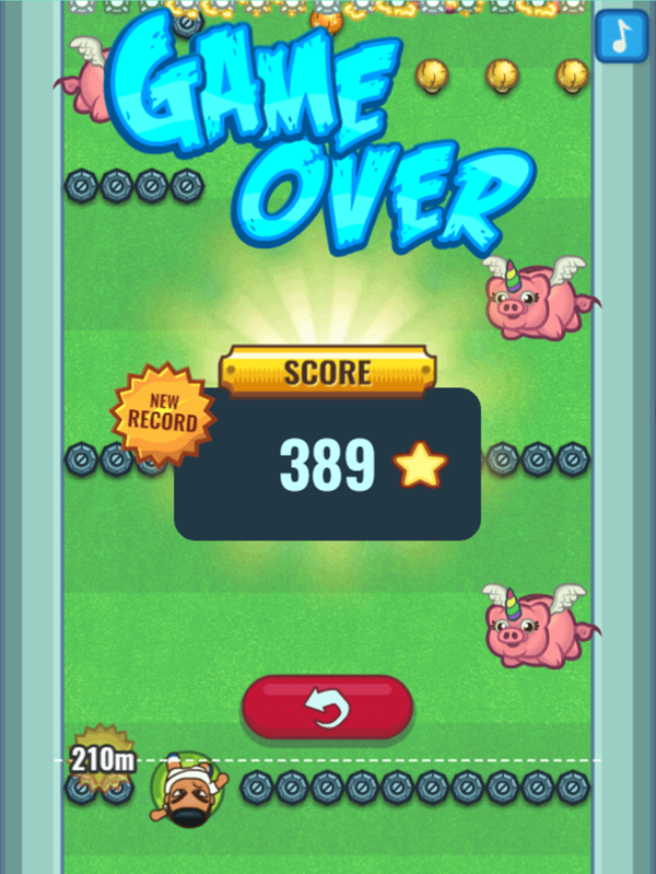 Flappy Foot Chinko Endless Bounce Game Over Screenshot.