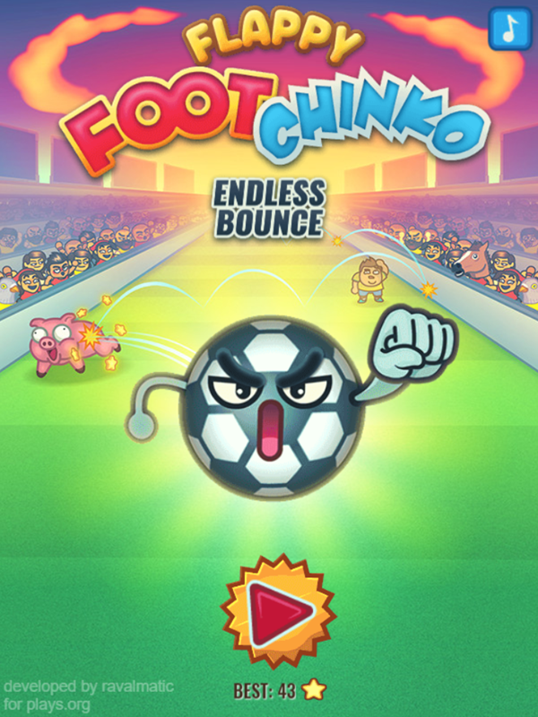 Flappy Foot Chinko Endless Bounce Game Welcome Screen Screenshot.