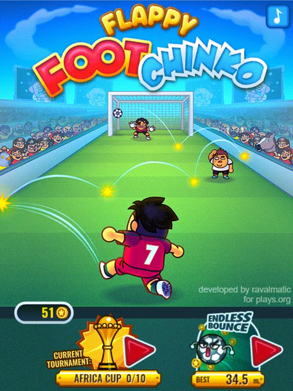 Flappy Foot Chinko Welcome Screen Screenshot.