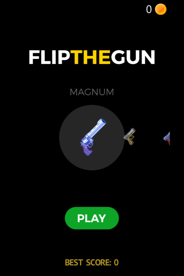Flip the Gun Game Welcome Screenshot.