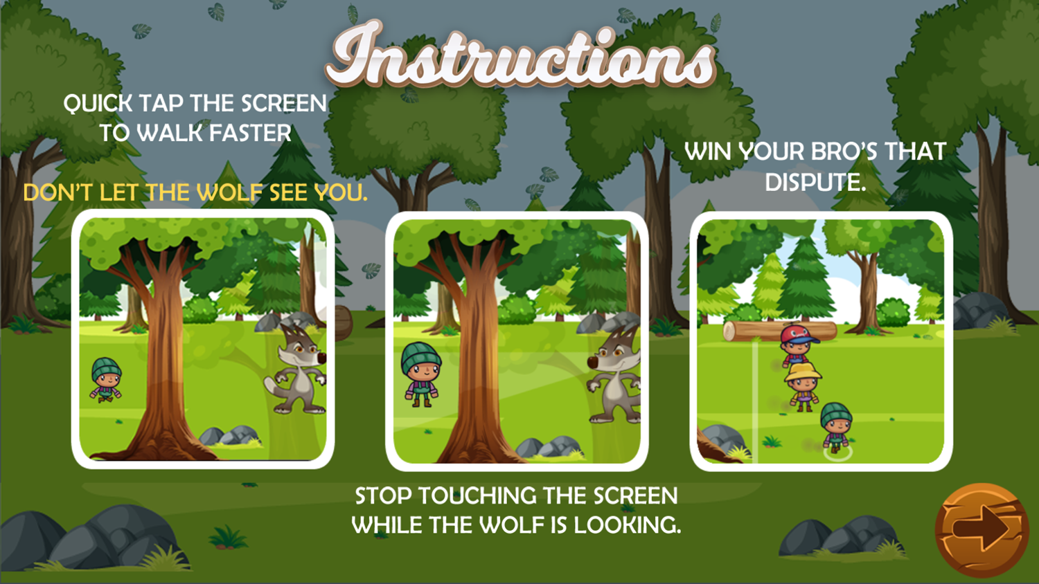Forest Camp Adventure Game Instructions Screenshot.