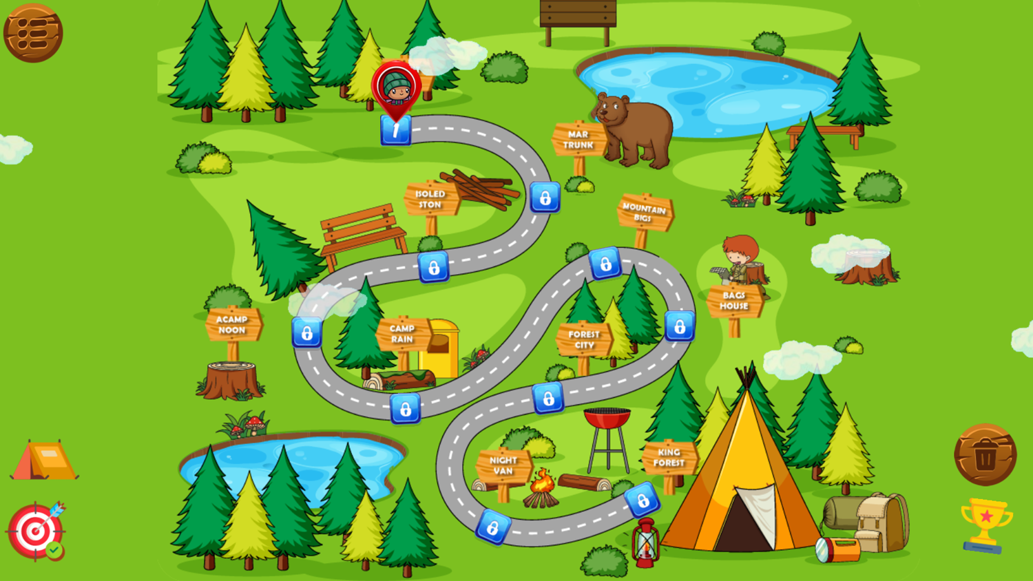 Forest Camp Adventure Game Level Select Screenshot.