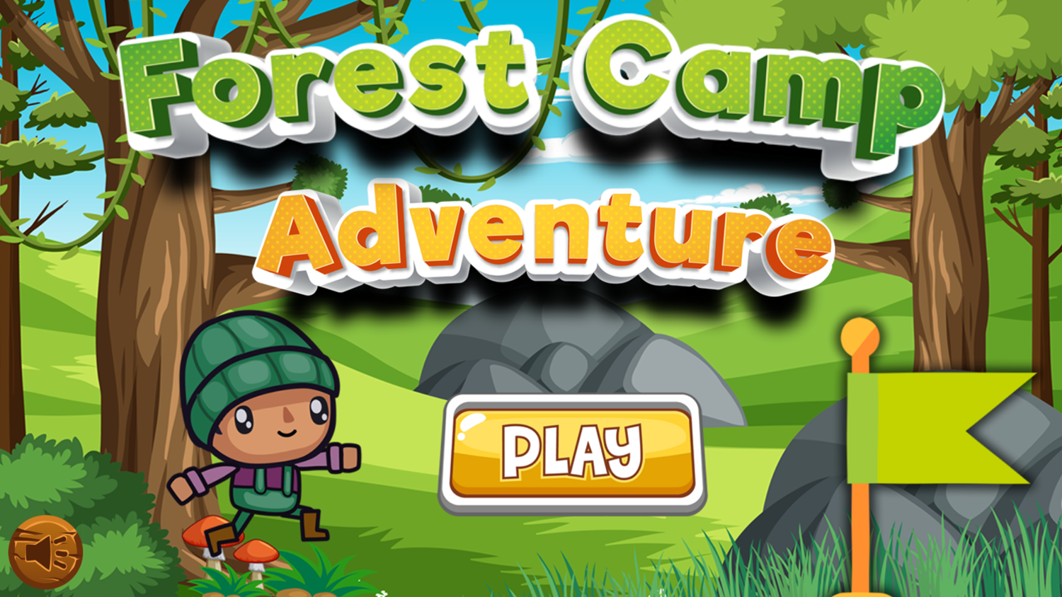 Forest Camp Adventure Game Welcome Screen Screenshot.