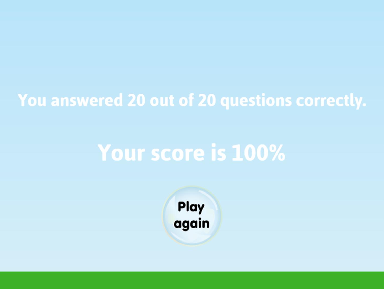 Fraction Fling Game Final Score Screenshot.