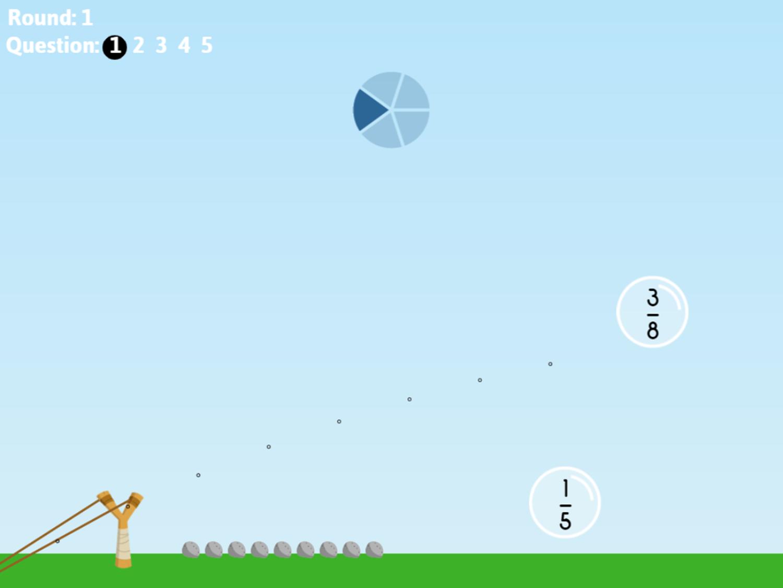 Fraction Fling Game Question Screenshot.