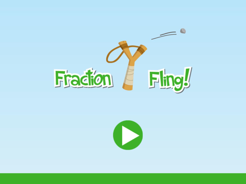 Fraction Fling Game Welcome Screen Screenshot.