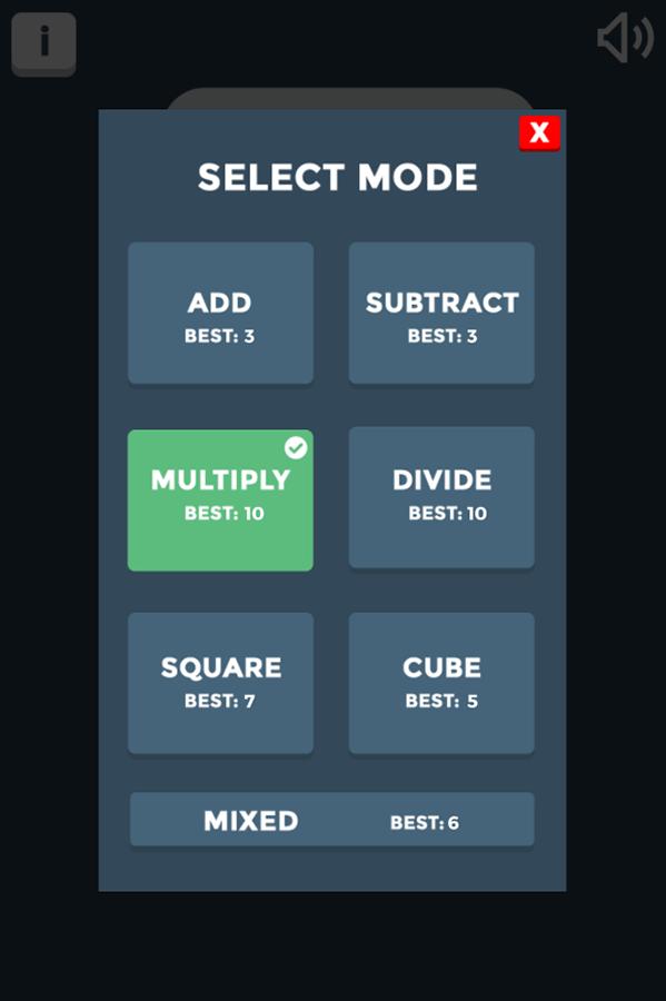 Freaky Math Advanced Mode Select Screenshots.