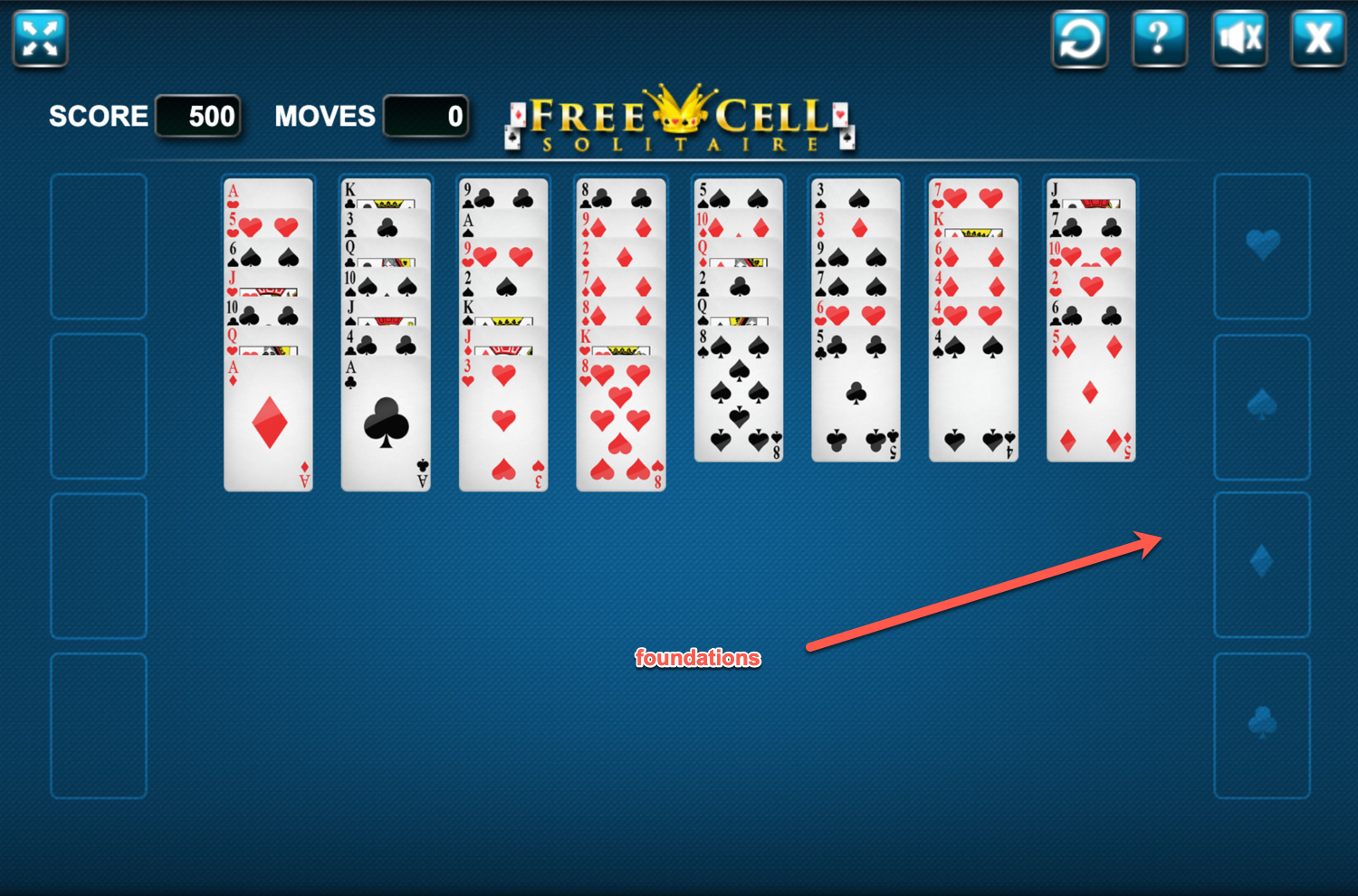 Freecell Solitaire Foundations Screenshot.