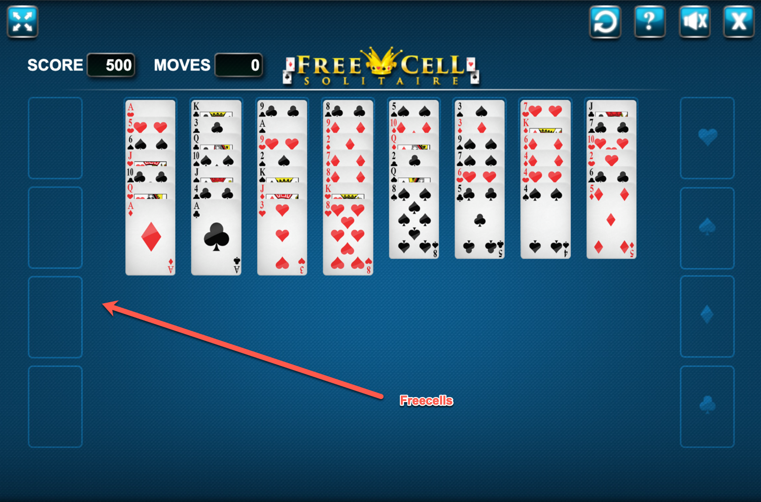 Freecell Solitaire Free Cells Screenshot.