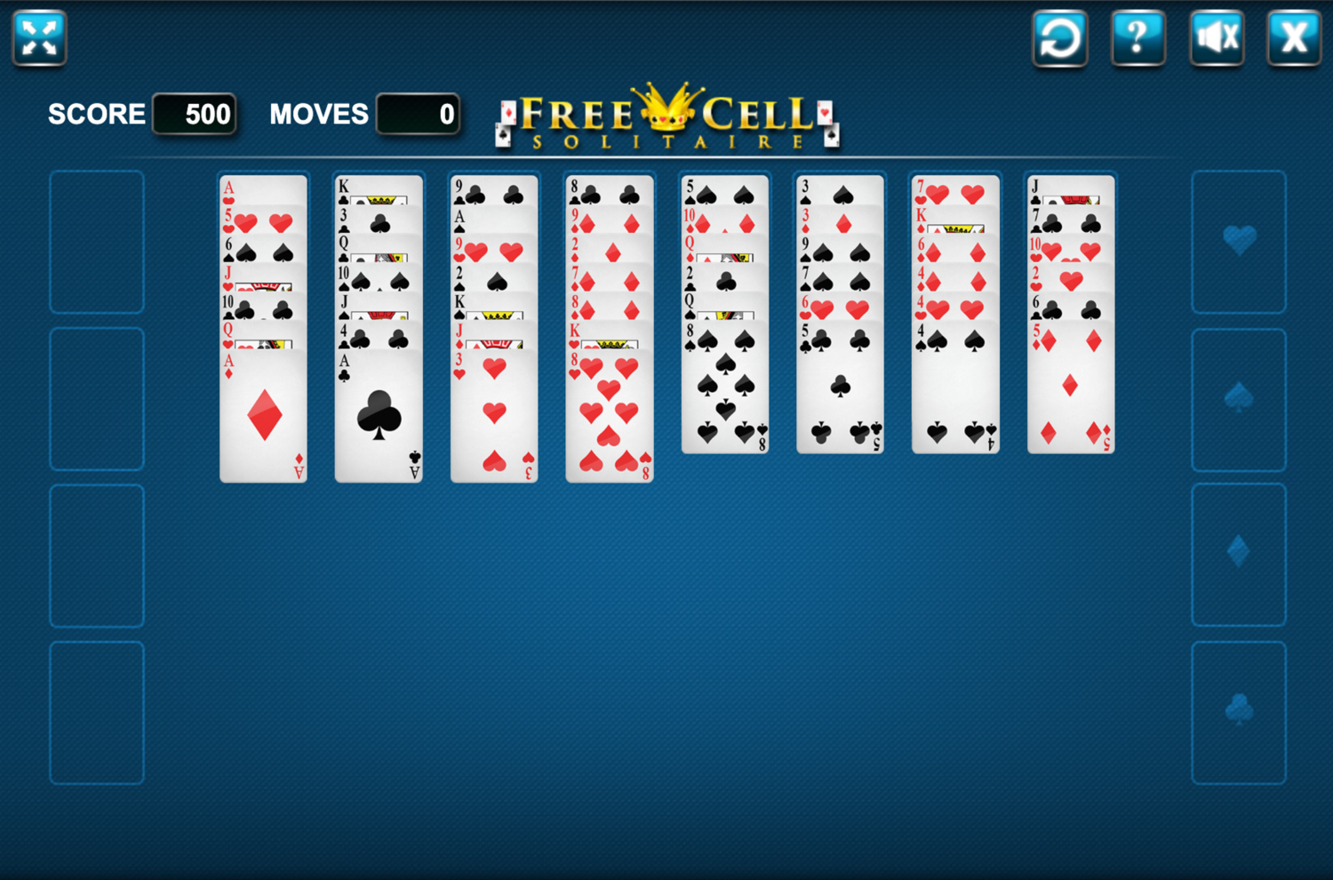Freecell Solitaire Game Screenshot.