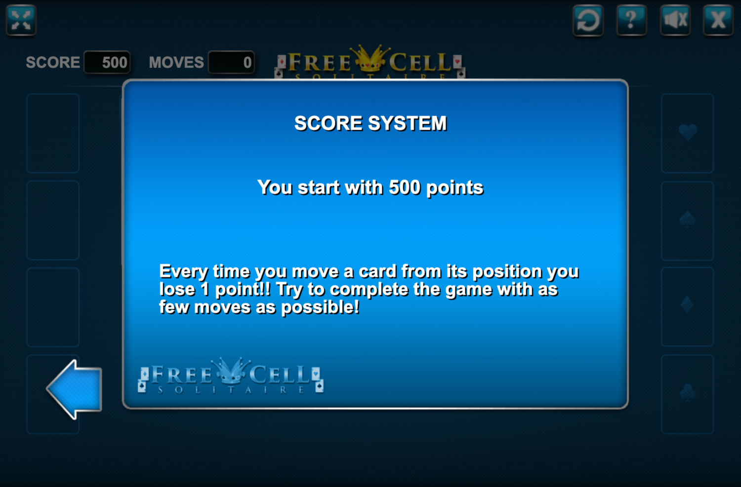 Freecell Solitaire Points Screen Screenshot.