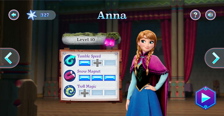 Frozen Rush Character Upgrades Screenshot.