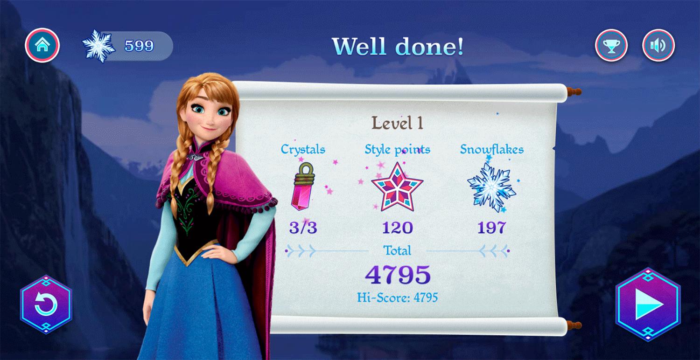 Frozen Rush Game Score Screenshot.