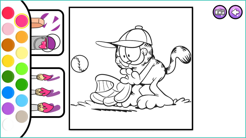 Garfield Coloring Book Game Blank Page Screenshot.