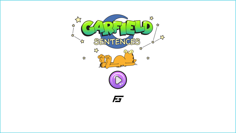 Garfield Sentences Game Welcome Screen Screenshot.