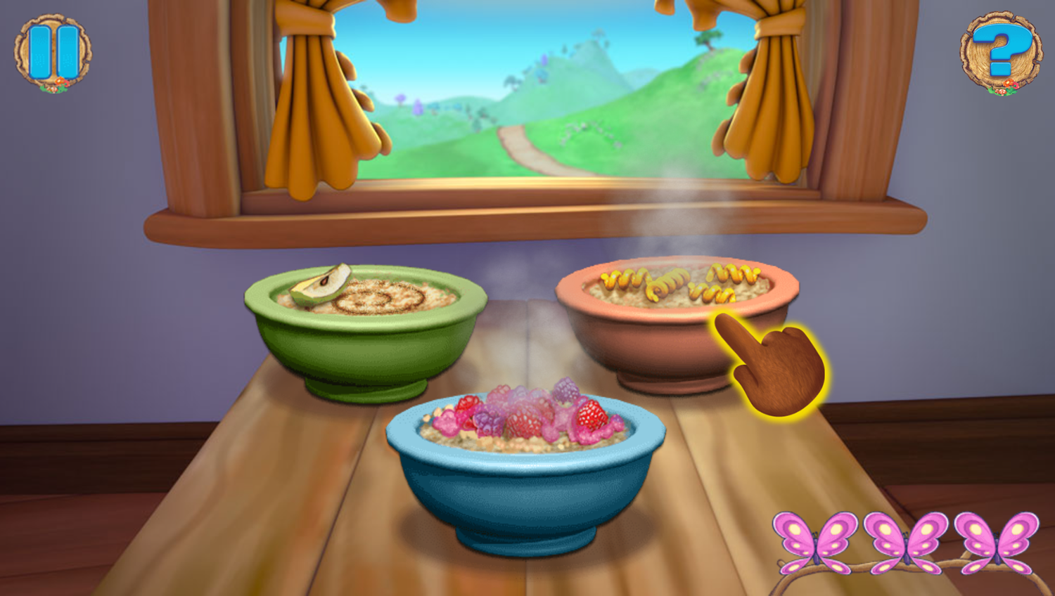 Goldie and Bear Fairy Tale Forest Adventures Game Food Blowing Play Screenshot.