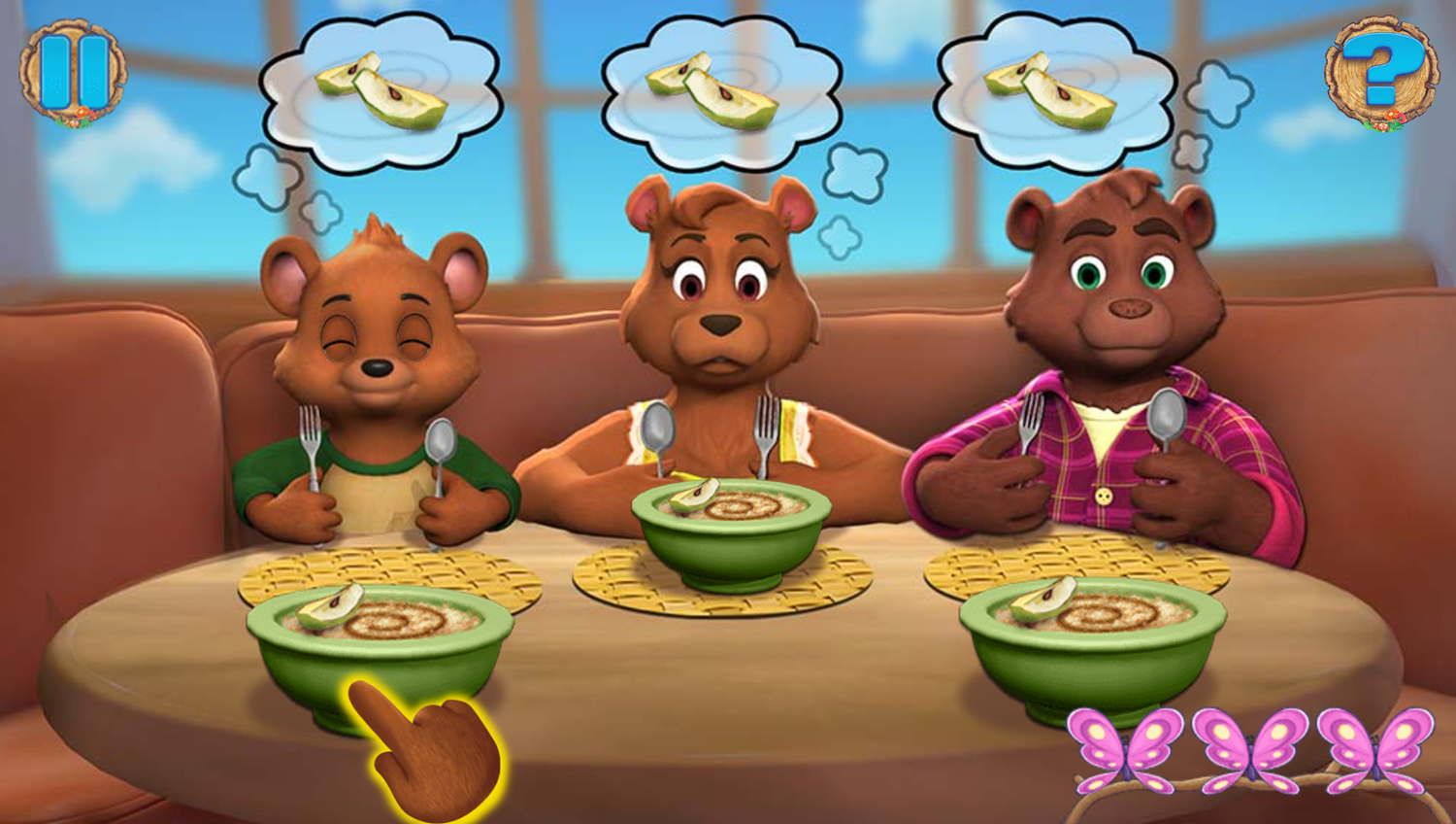 Goldie and Bear Fairy Tale Forest Adventures Game Giving Food Play Screenshot.