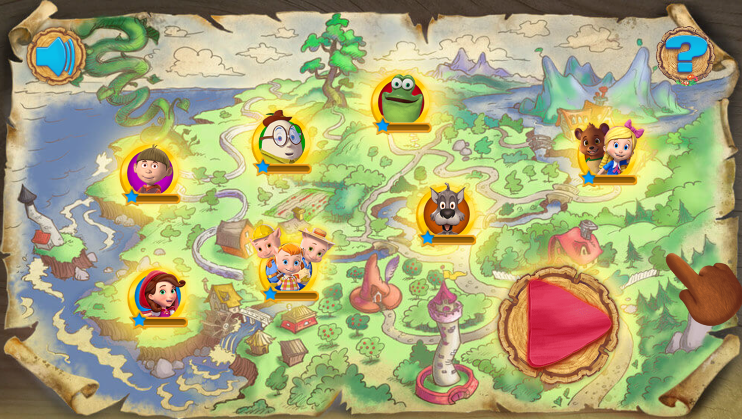 Goldie and Bear Fairy Tale Forest Adventures Game Map Stages Screenshot.
