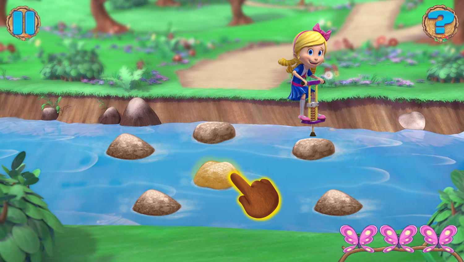 Goldie and Bear Fairy Tale Forest Adventures Game River Trampoline Play Screenshot.