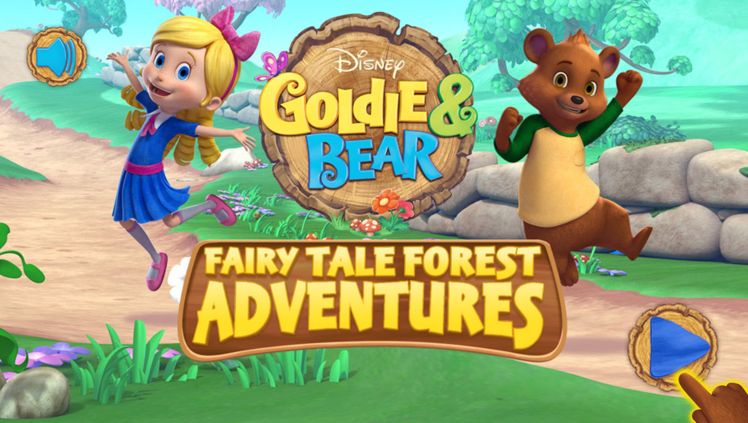 Goldie and Bear Fairy Tale Forest Adventures Game Welcome Screen Screenshot.