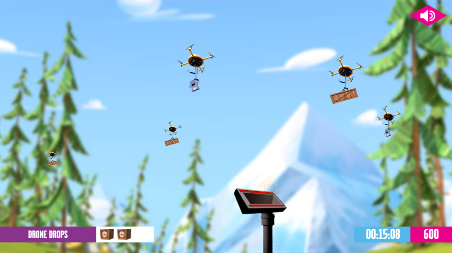 Grizzy and the Lemmings Drone Drops Game Play Screenshot.