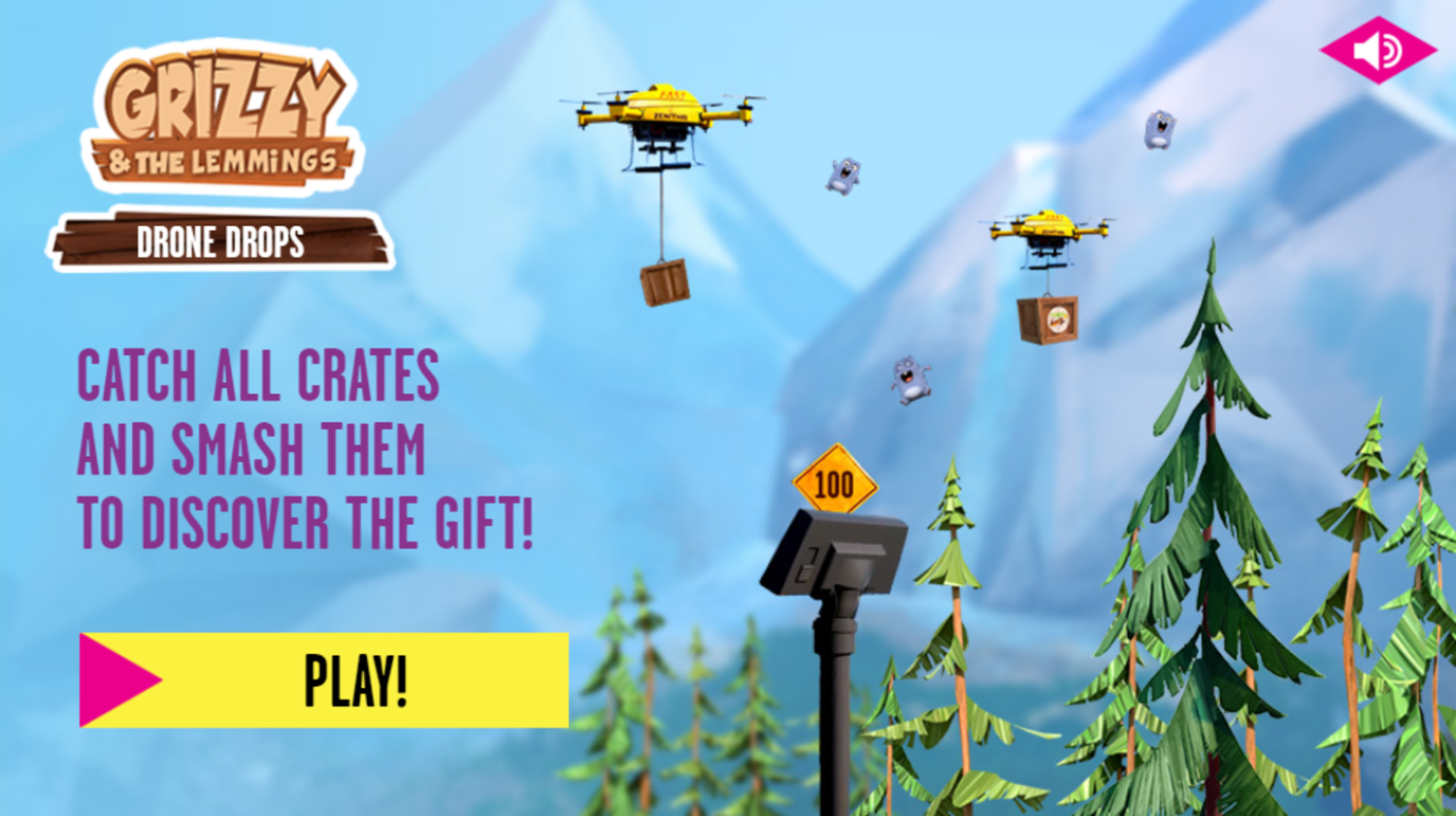 Grizzy and the Lemmings Drone Drops Game How To Play Screenshot.