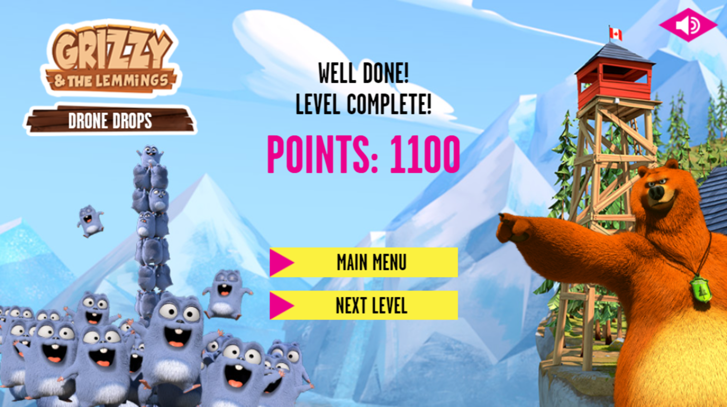 Grizzy and the Lemmings Drone Drops Game Level Complete Screenshot.