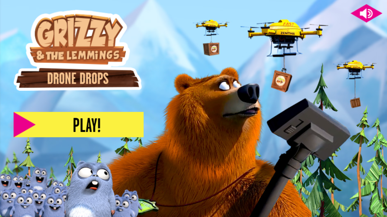 Grizzy and the Lemmings Drone Drops Game Welcome Screen Screenshot.