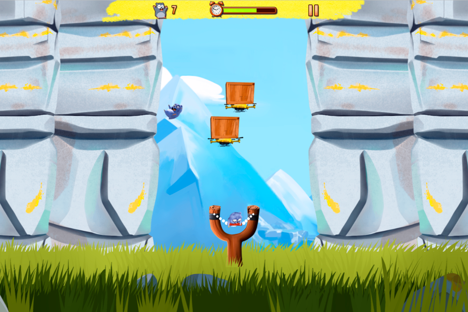 Grizzy and the Lemmings Lemmings Sling Game Play Screenshot.
