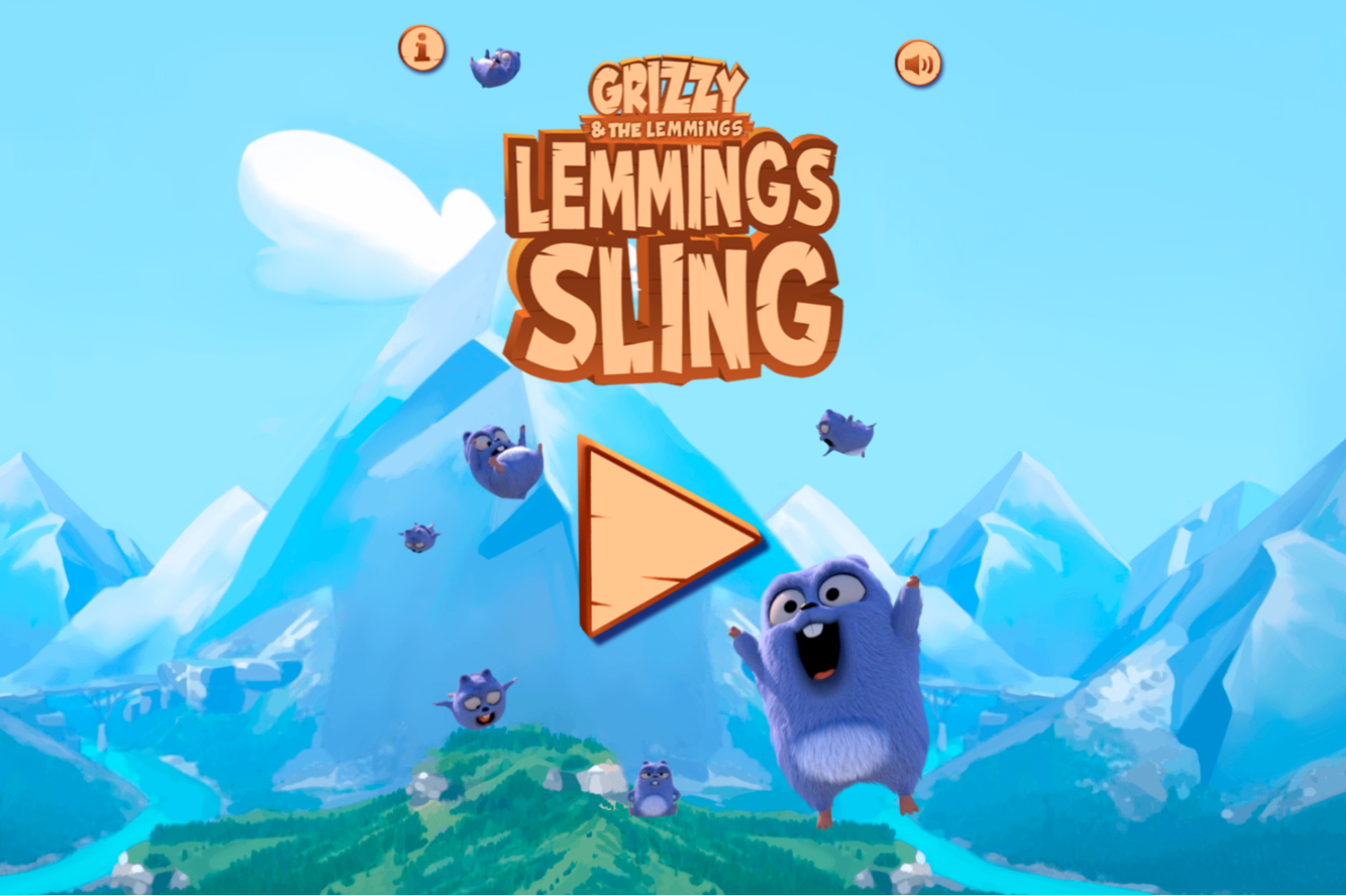 Grizzy and the Lemmings Lemmings Sling Game Welcome Screen Screenshot.