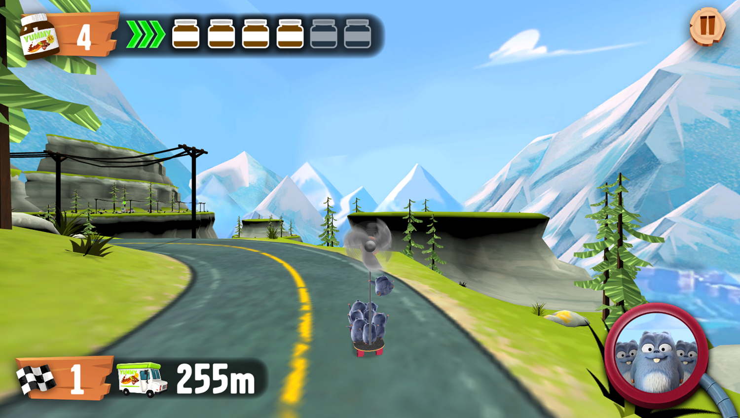 Grizzy and the Lemmings Yummy Run Game Play Screenshot.