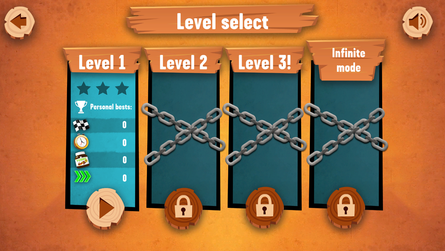 Grizzy and the Lemmings Yummy Run Game Level Select Screenshot.