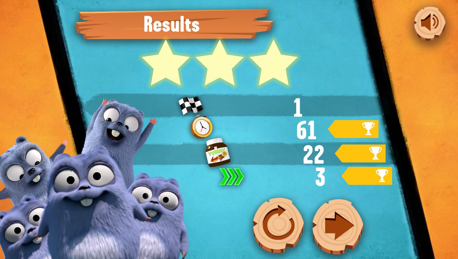 Grizzy and the Lemmings Yummy Run Game Results Screenshot.